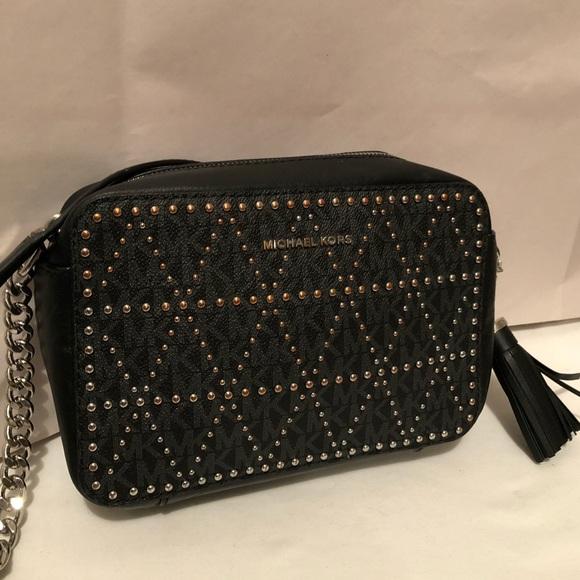 9d5e866decbf Michael Kors Ginny Studded Camera Crossbody Bag